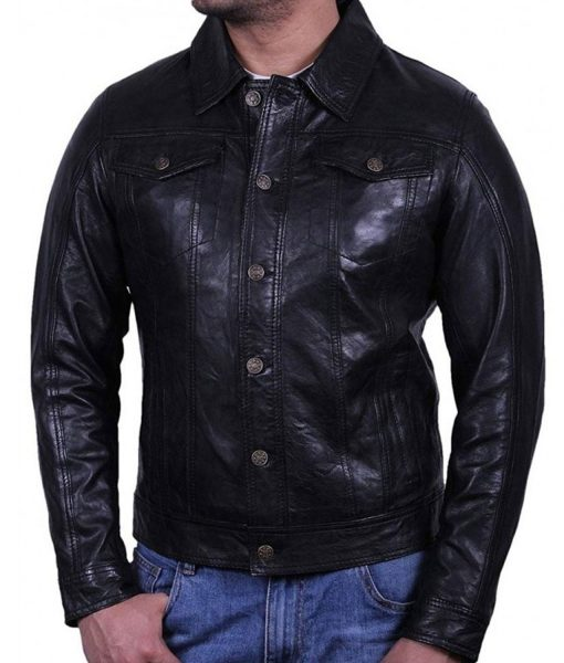 button-leather-jacket