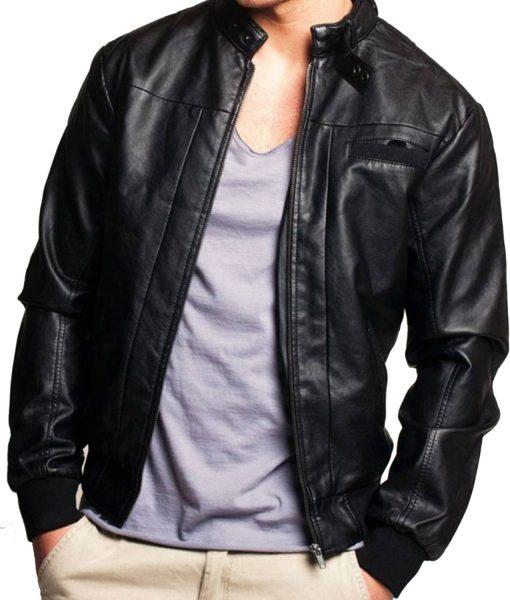 mens-black-leather-bomber-jacket