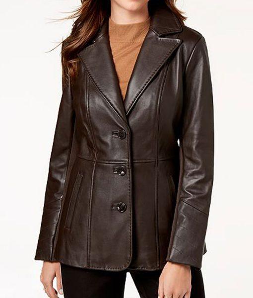 womens-brown-leather-blazer