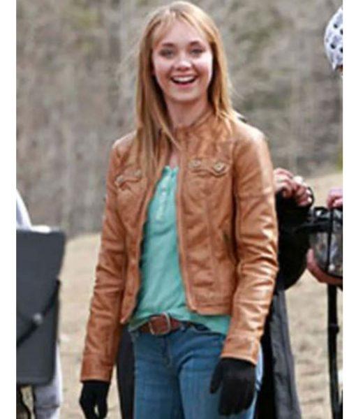 amber-marshall-heartland-brown-leather-jacket
