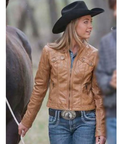 amy-fleming-brown-leather-jacket