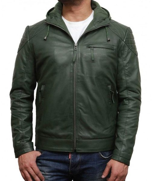 green-leather-hoodie