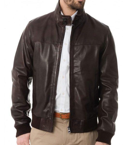 mens-brown-leather-bomber-jacket