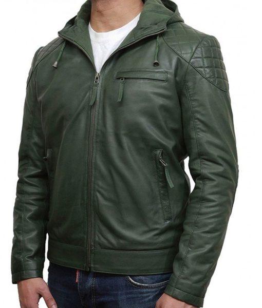 mens-green-leather-hoodie