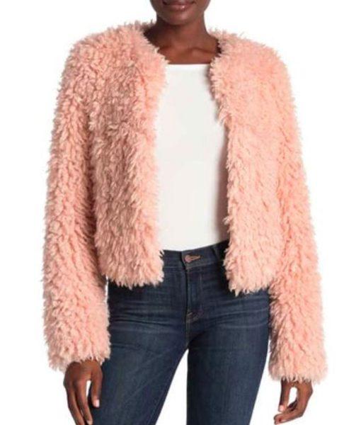 the-equalizer-laya-deleon-hayes-pink-fur-jacket