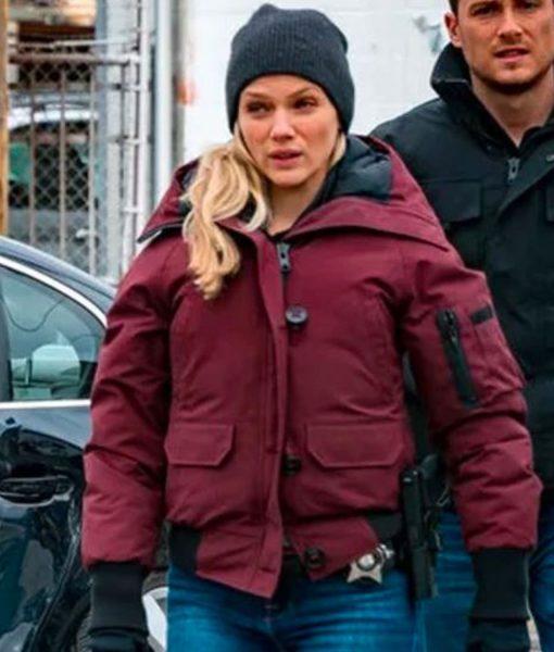 chicago-pd-tracy-spiridakos-bomber-hooded-jacket