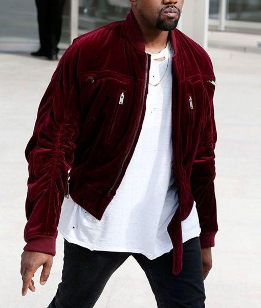 kanye-west-bomber-velvet-red-jacket