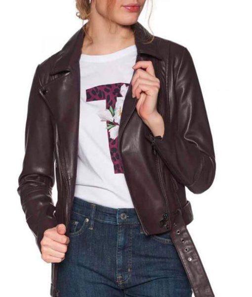 lili-reinhart-maroon-leather-jacket
