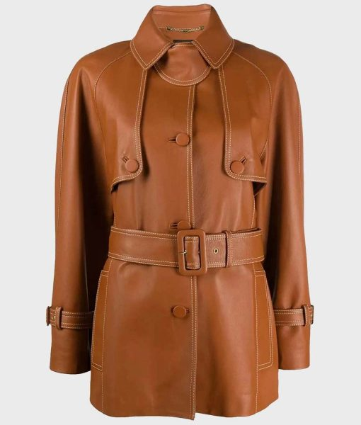 womens-brown-belted-leather-coat