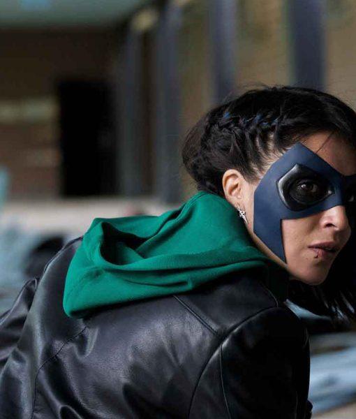 how-i-became-a-super-hero-leila-bekhti-leather-jacket